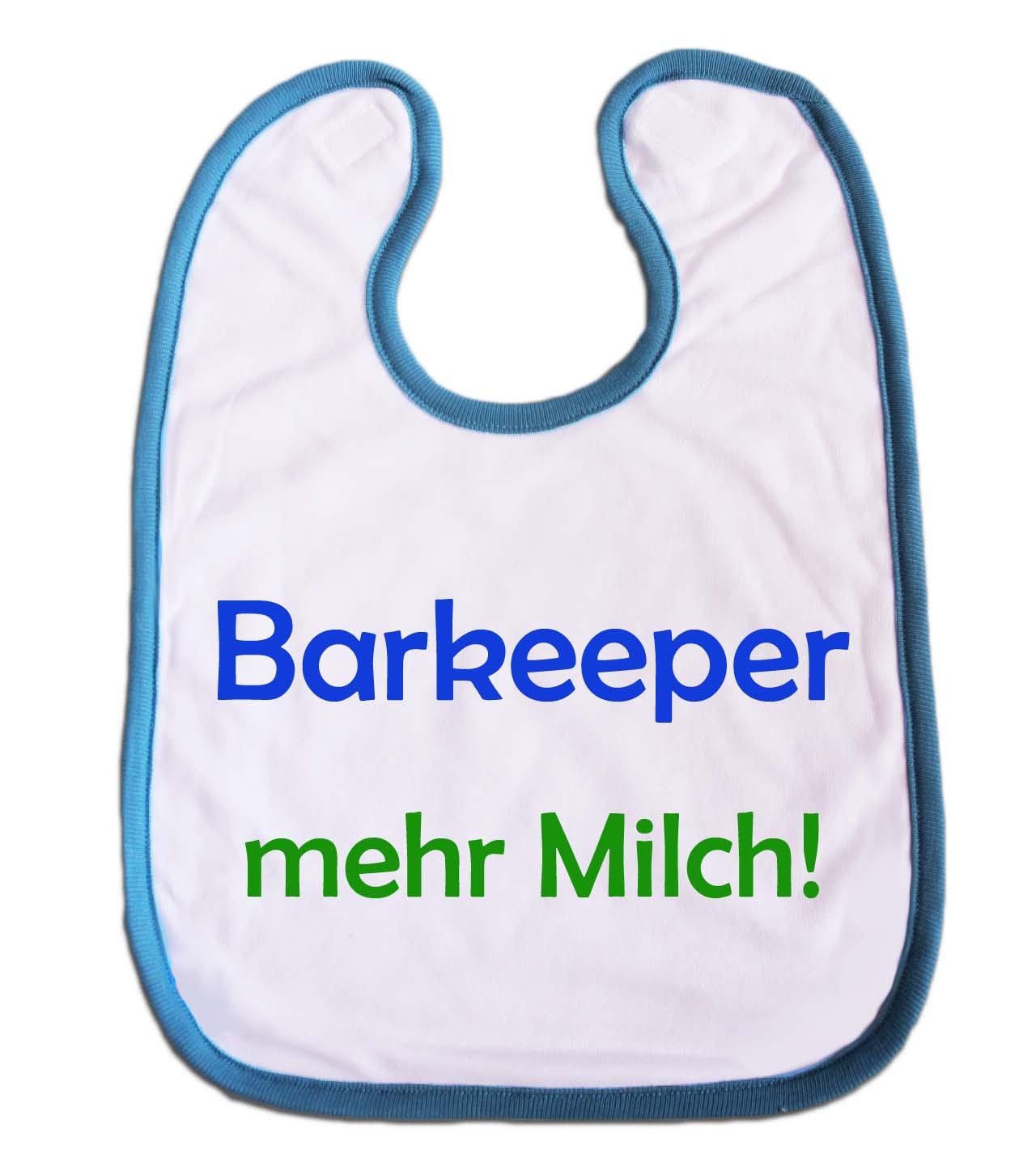 """Lätzchen """"Barkeeper mehr Milch"""" für Babys hellblau"""