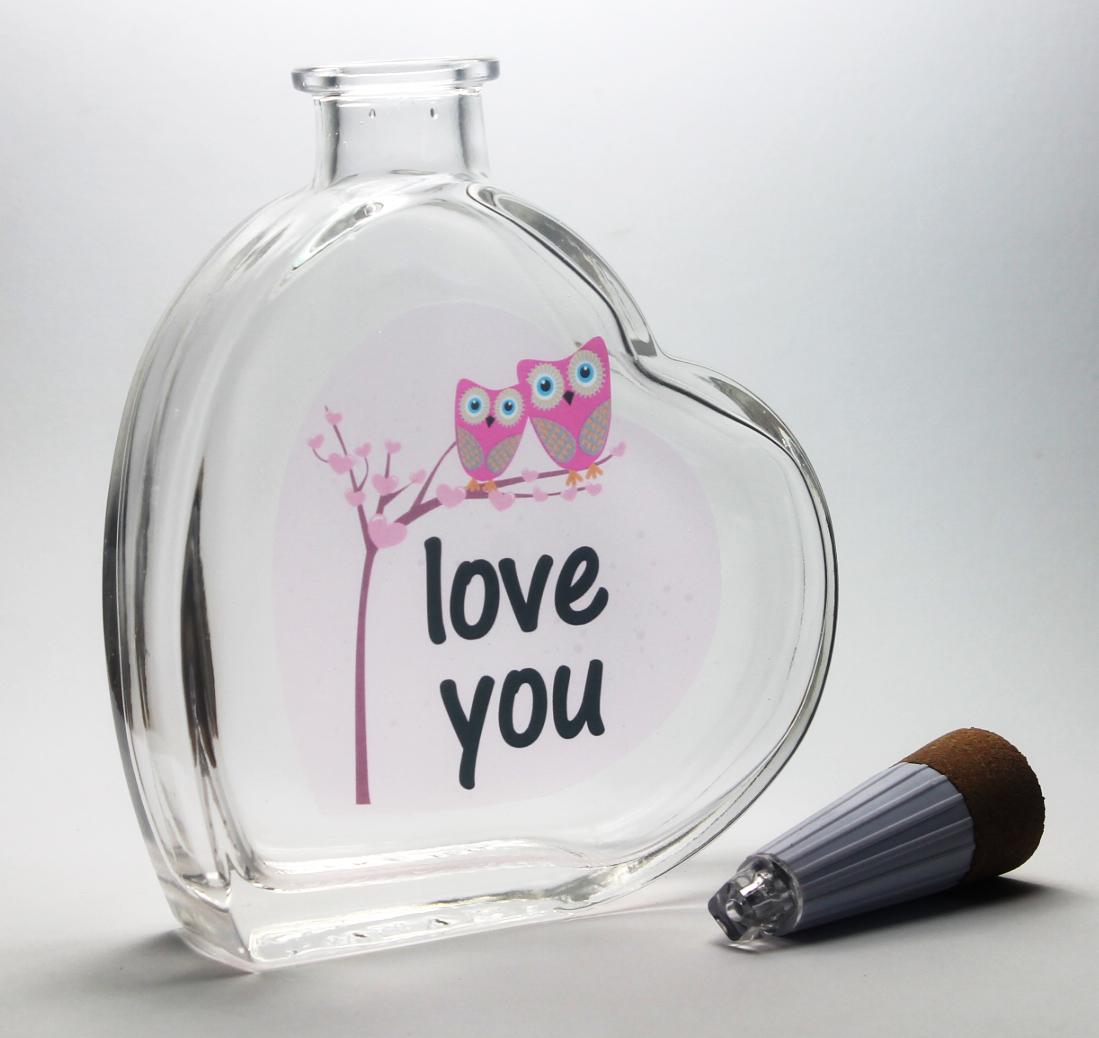 Led Dekoflasche Herz love you