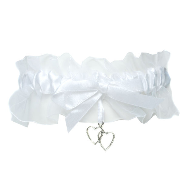 Strumpfband weiß für Hochzeit mit Herzen