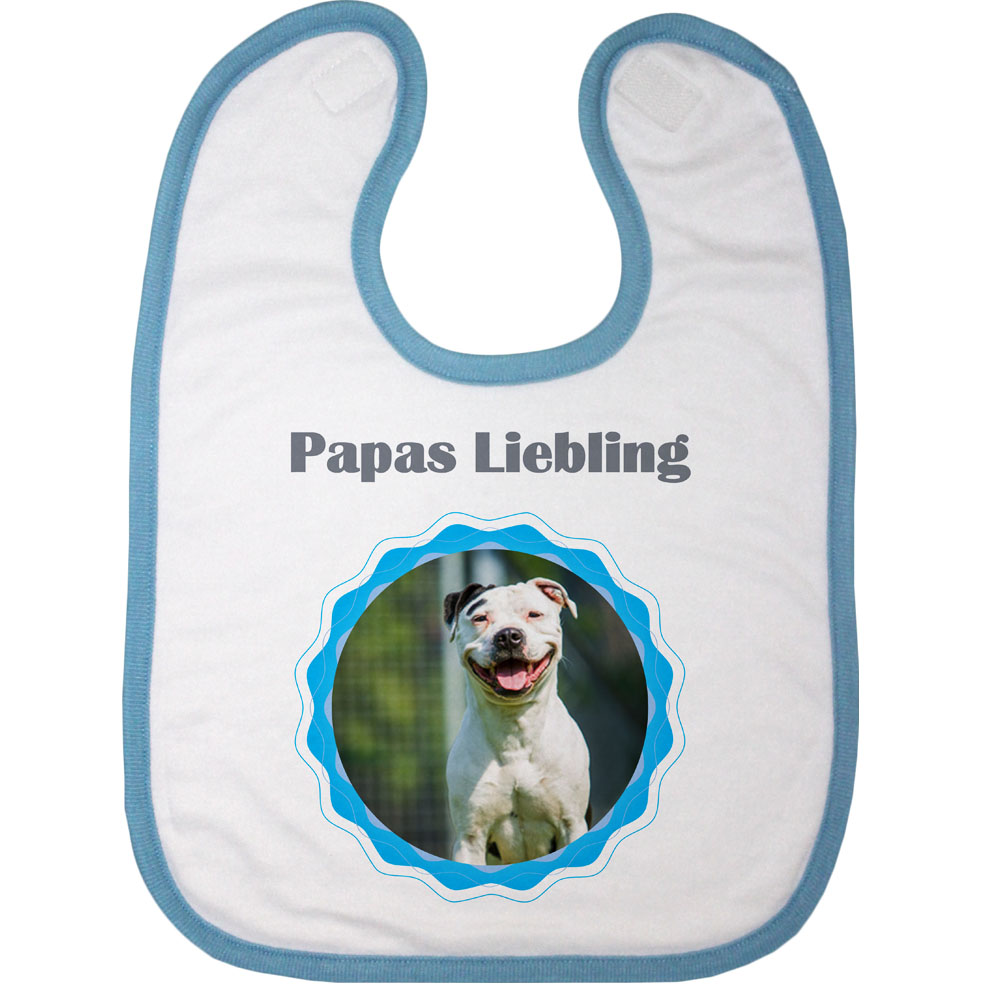 Babylatz blau mit Foto Papas Liebling 02