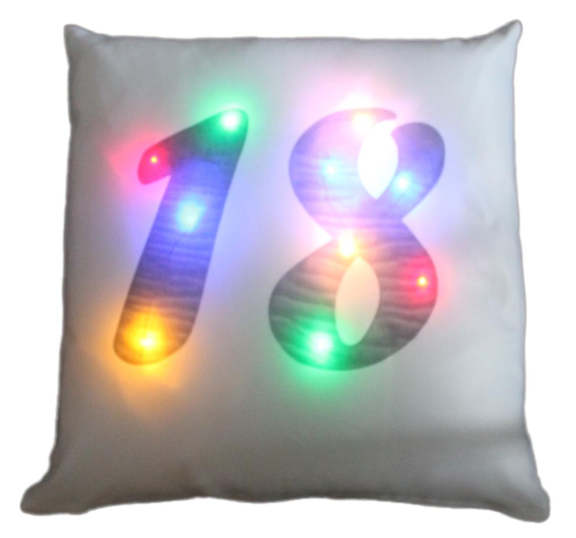 LED Kissen Zahl 18 weißes Kissen mit bunten LED