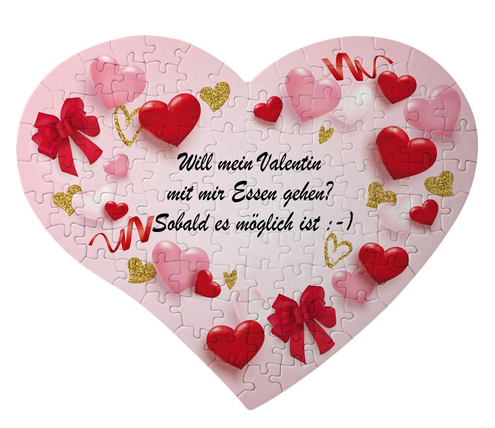 Herz Puzzle Valentinstag mit eigenem Text