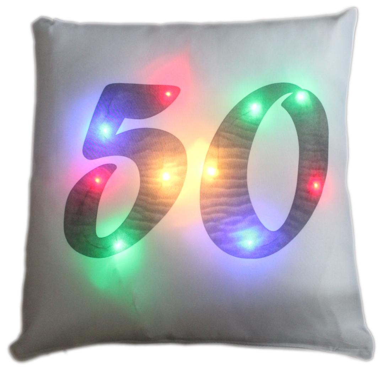 LED Kissen Zahl 50 weißes Kissen mit bunten LED