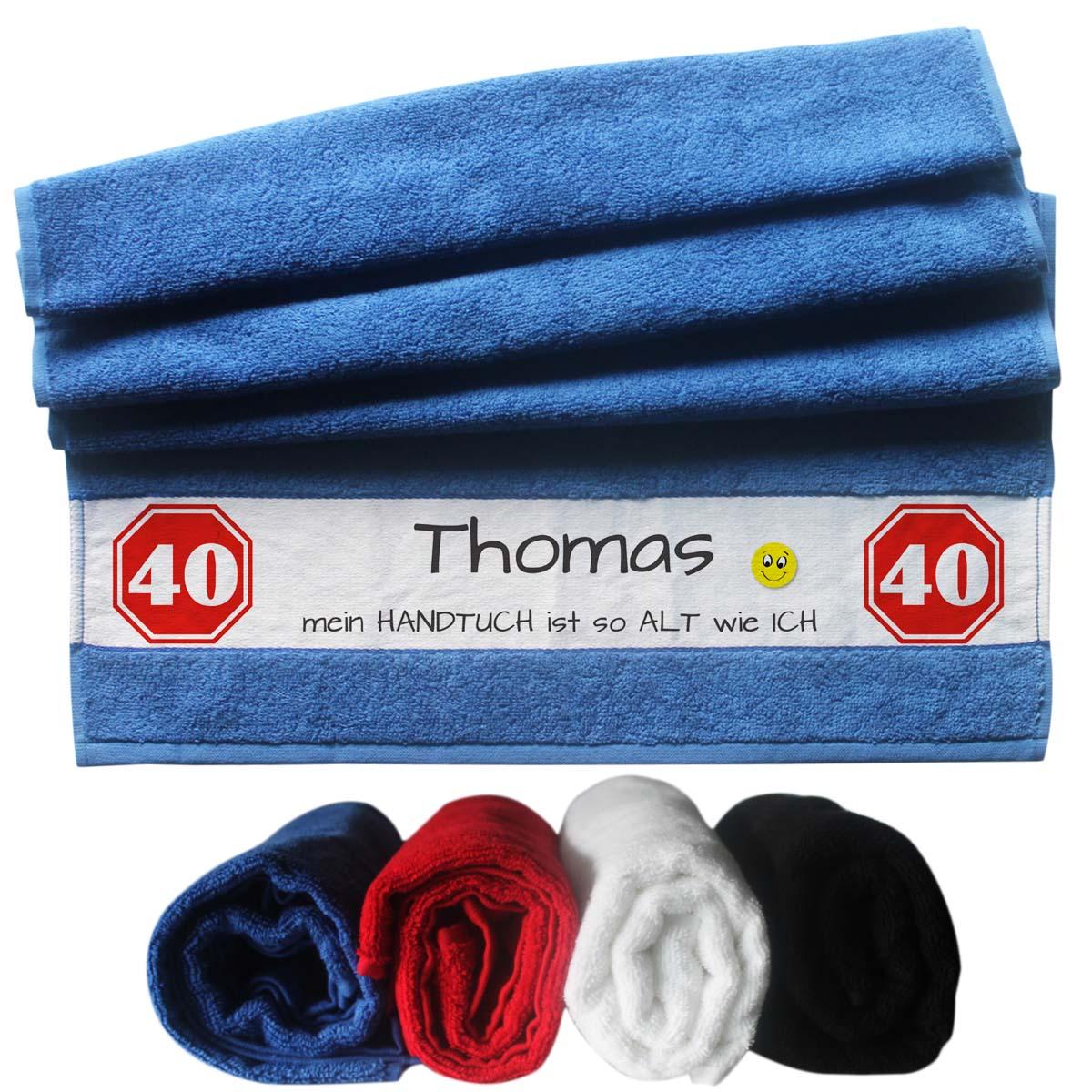 witziges Handtuch mit Name zum 40 Geburtstag