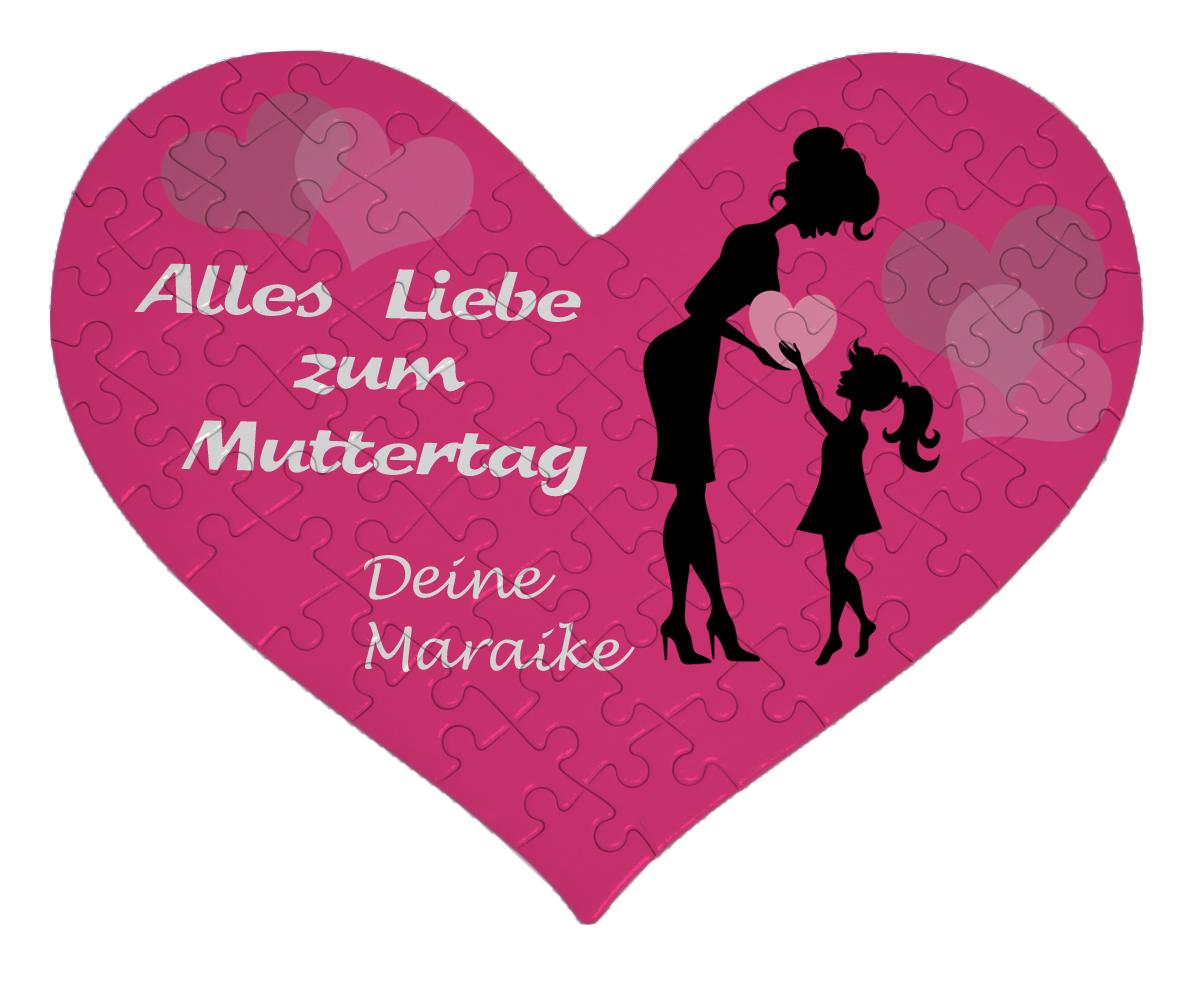 Herz Puzzle Mädchen Mama Geschenk Muttertag