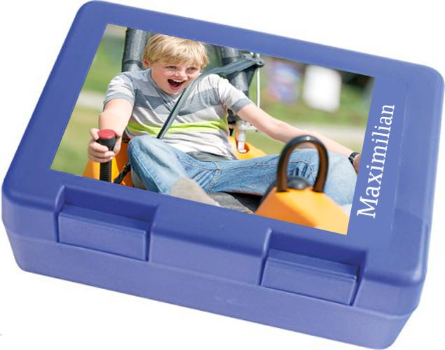 individuelle Brotbox blau mit Foto und Name Fotogeschenk