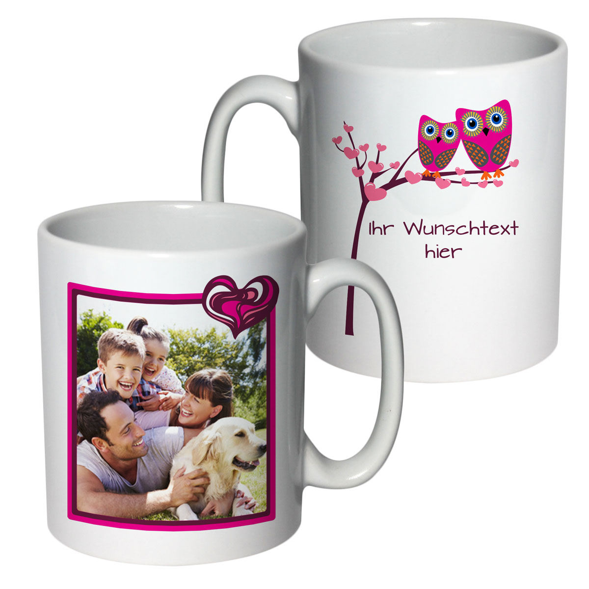 Tasse mit Foto und Text Eulen-Liebe