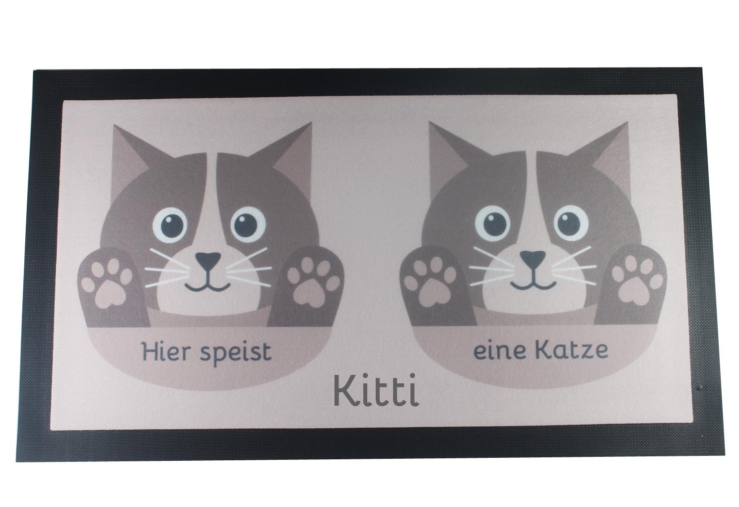 Napfunterlage Katze mit Name braun