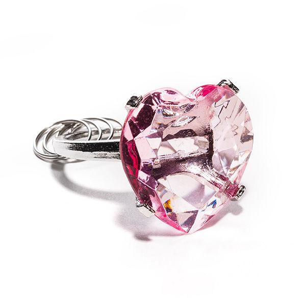 Diamant Schlüsselring pink Herzform für 5 Schlüssel
