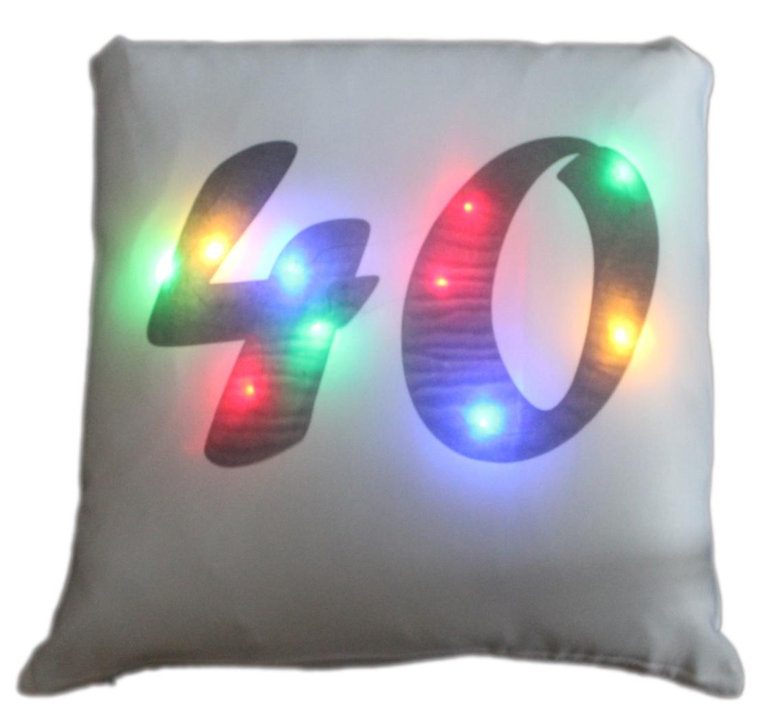 LED Kissen Zahl 40 weißes Kissen mit bunten LED