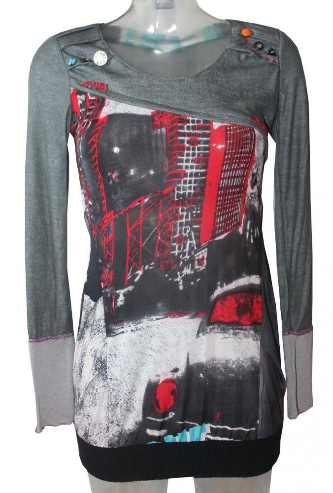 Long Pullover mit Print Grau Rot Gr. S ausgefallen