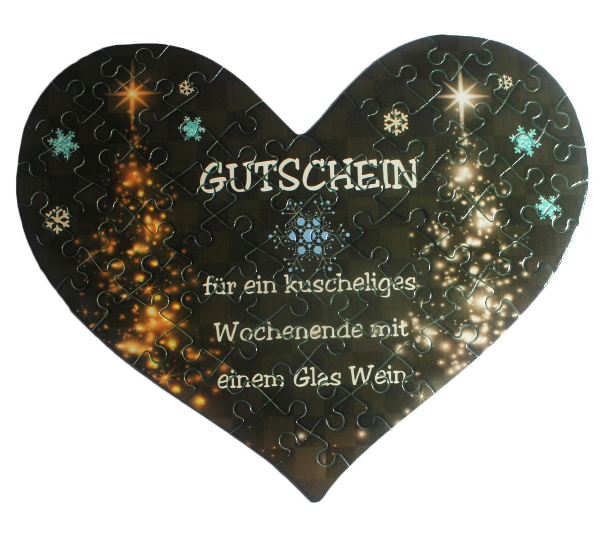 """Herz Puzzle mit eigenem Text Design """"Weihnachtsbaum-Lichter"""""""