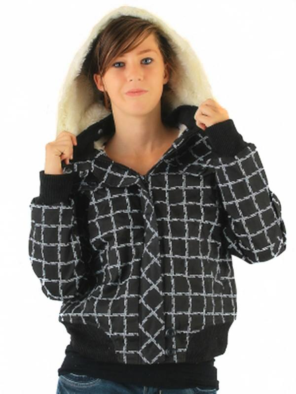 kurze Damen Jacke fellgefüttert mit Kapuze in Karo schwarz