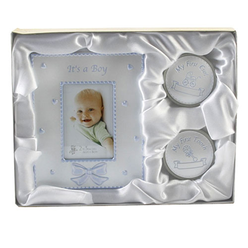 Geschenkbox Baby Jungen Geburt Taufe für Foto Zahn und Locke 02