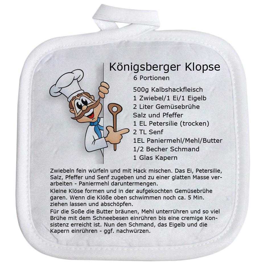 Topflappen mir Spruch Rezept Königsberger Klopse