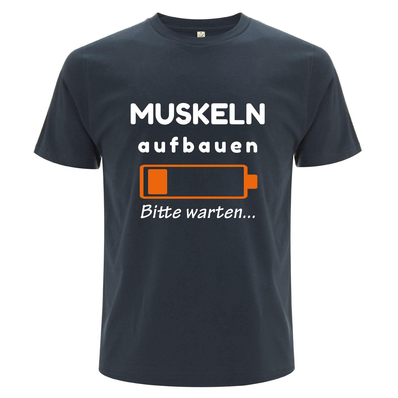 witziges Männer Shirt Muskeln ausbauen   denim