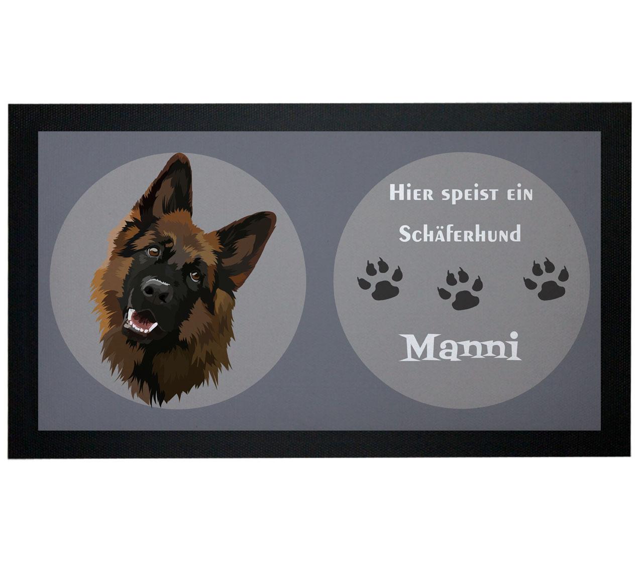 Napfunterlage Hund Schäferhund mit Name