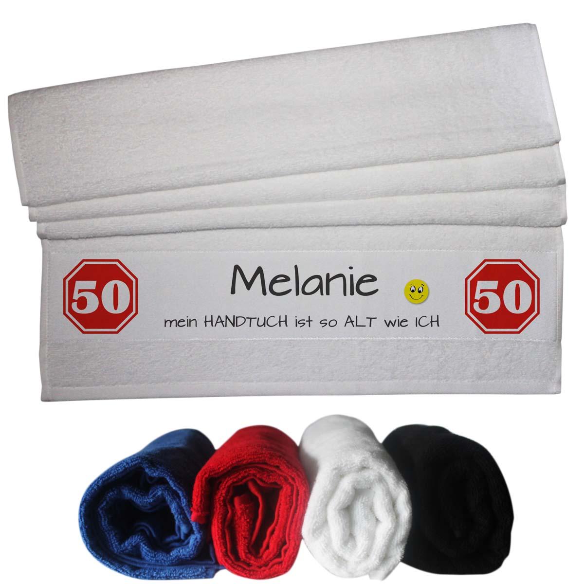 witziges Handtuch mit Name zum 50 Geburtstag