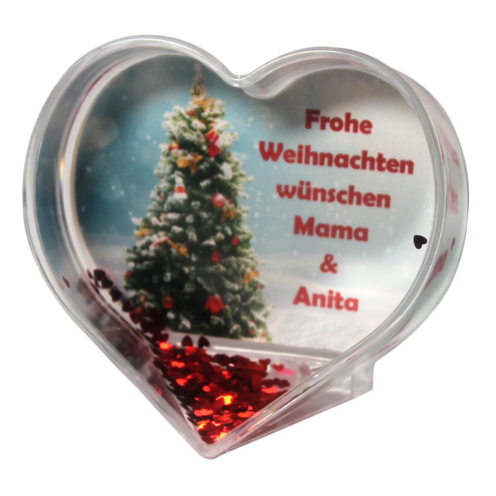 Herz Schneekugel Weihnachtsbaum mit eigenem Grußtext zu Weihnachten 01