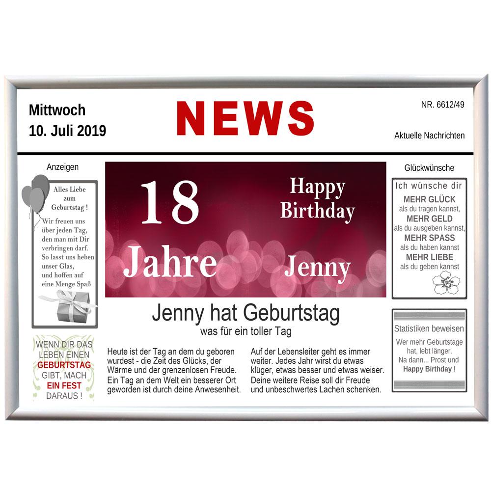 Alu Tafel News Geburtstag mit Name und Datum 18 Jahre
