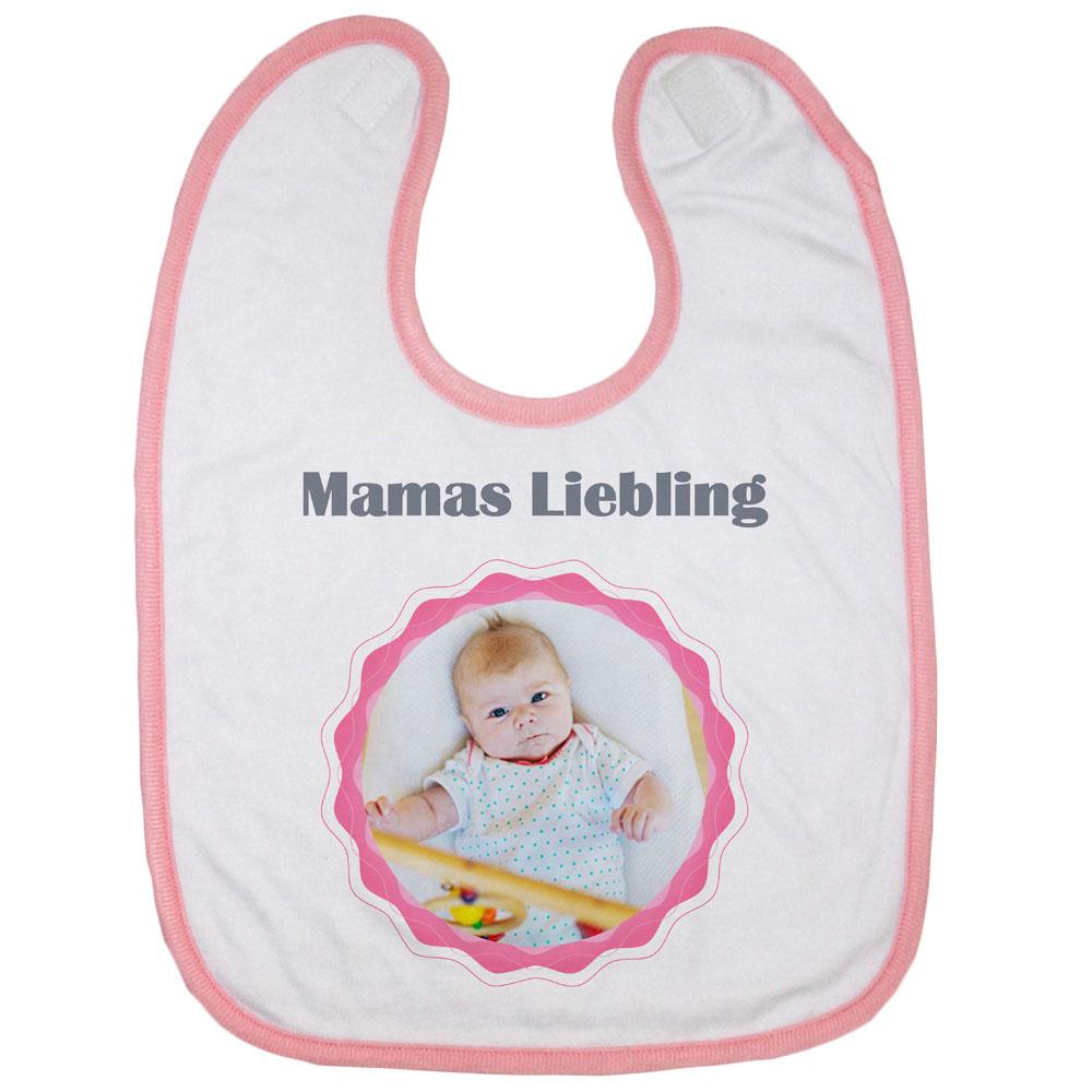 Babylatz rosa mit Foto Mamas Liebling