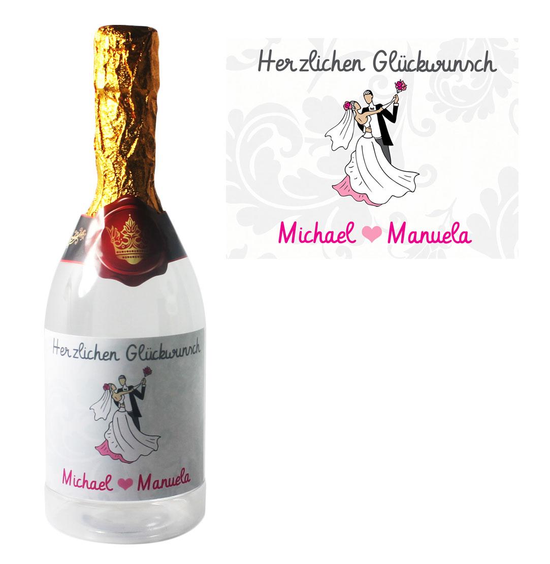 Flasche zum Befüllen mit Namen Hochzeit Brautpaar 01