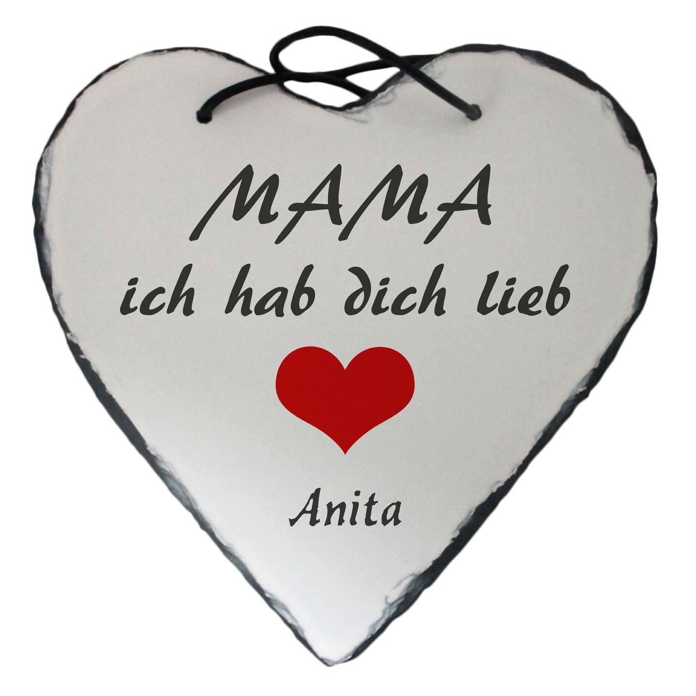 Schiefer Herz Mama ich hab dich lieb mit Name