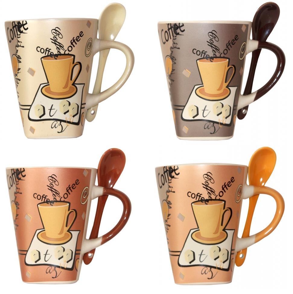 Becher mit Löffel Kaffeebecher Keramik im Kaffeedekor