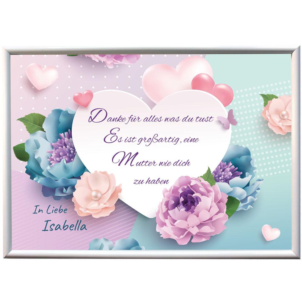 Alu-Tafel Muttertag Herzlichen Dank mit Name